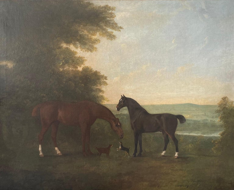 John Boultbee Animal Painting - Horses with accompanying dogs in an extensive English landscape, 18th century