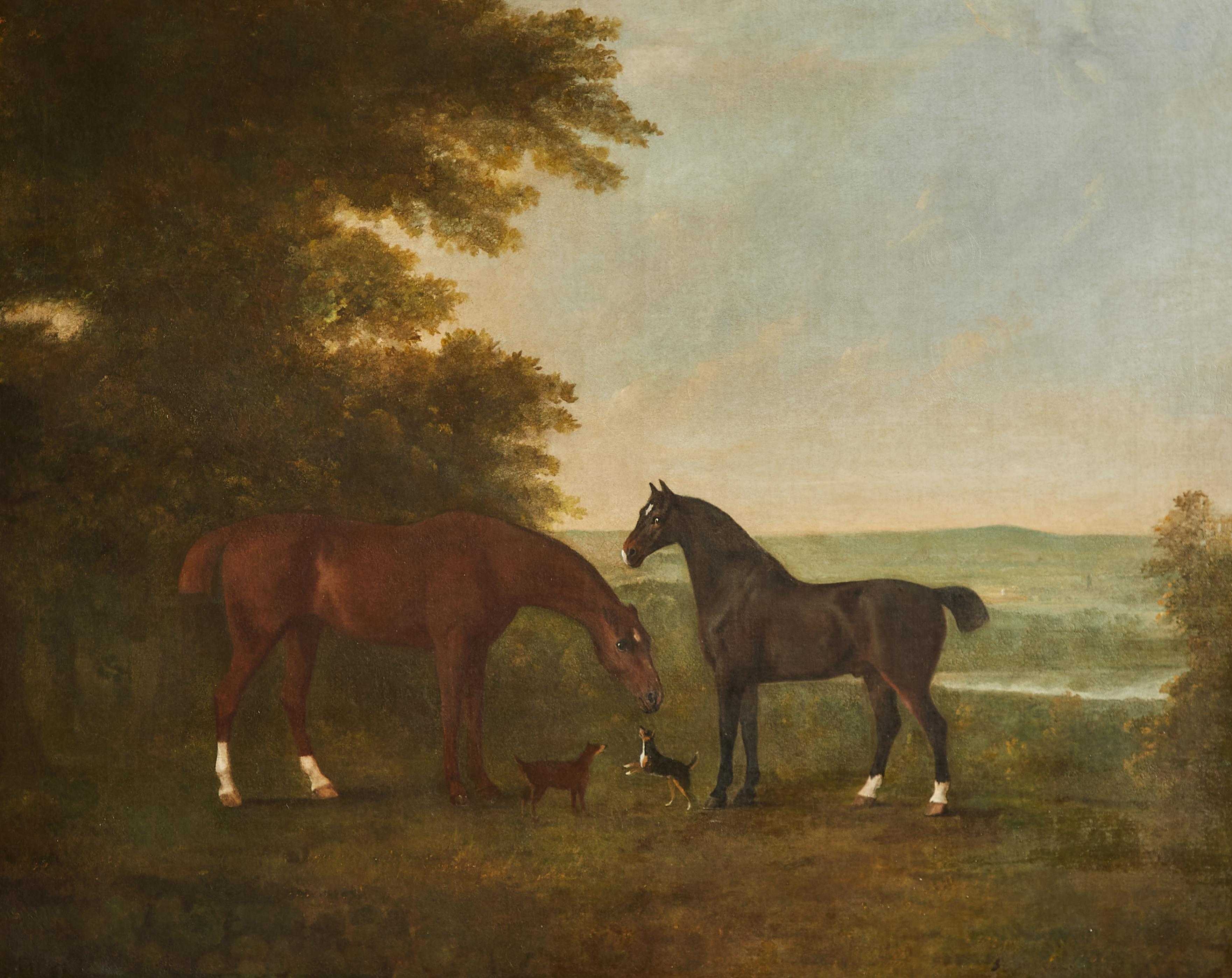 Horses with accompanying dogs in an extensive English landscape, 18th century