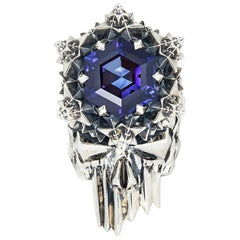 John Brevard THOSCENE Deep Blue Sapphire Silver Skull Ring