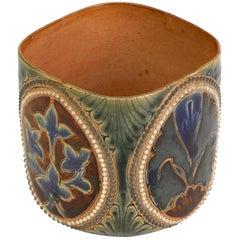 John Broad Doulton Lambeth Rare Art Pottery Beaker Vase Dated 1880