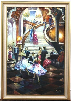 Signed J. Brooks Ballroom Scene Art Oil Painting