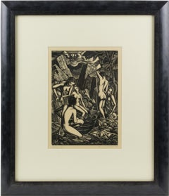 Baigneuses (Bathers) Wood-Engraving Drawing Lithograph by John Buckland-Wright