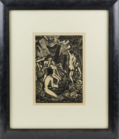 The Bathers, Wood-Engraving Drawing Lithograph by John Buckland-Wright