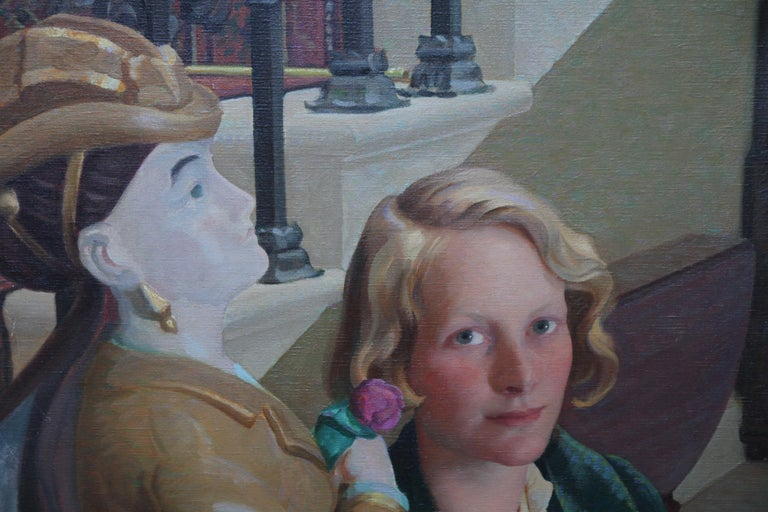 Countess of Cranbrook with Statue - Scottish 30's Art Deco portrait oil painting - Realist Painting by John Bulloch Souter