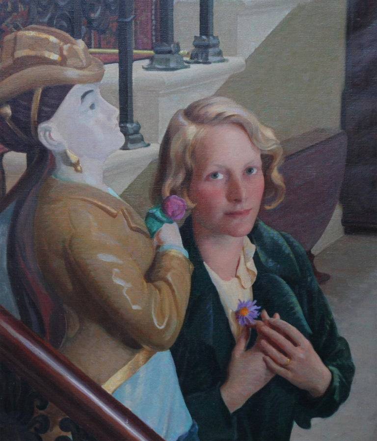 An intriguing Art Deco oil painting by John Bulloch Souter which dates to the 1930's. The portrait depicts the Countess of Cranbrook as a beautiful young woman. She is stood next to a statue of an elegant lady positioned at the bottom of a flight of