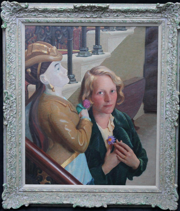 John Bulloch Souter Interior Painting - Countess of Cranbrook with Statue - Scottish 30's Art Deco portrait oil painting