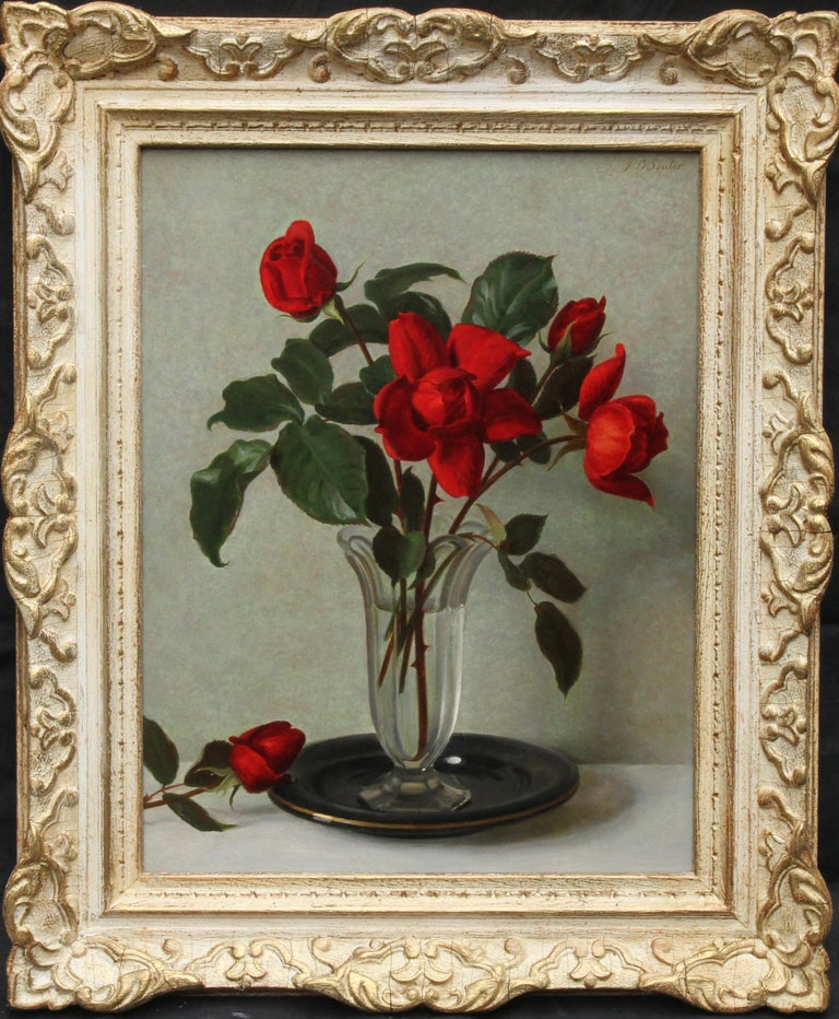 Red Roses in a Glass Vase - Scottish 1950's art floral still life oil painting For Sale 8