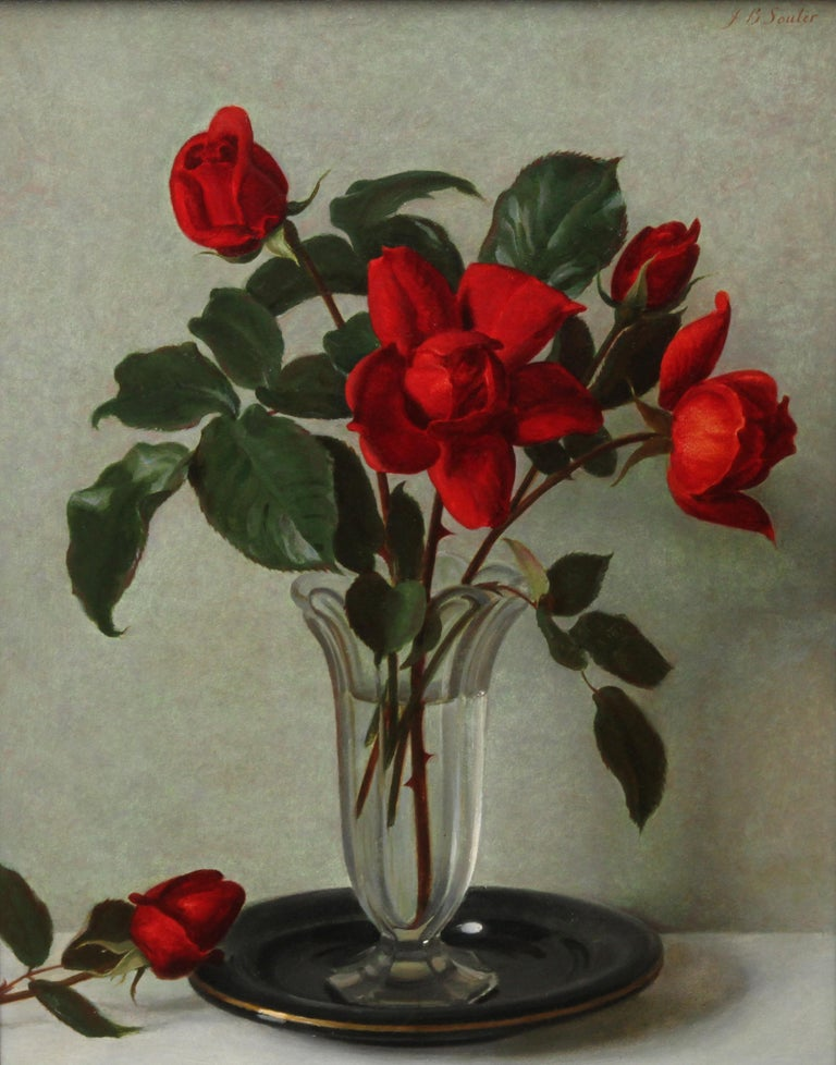 Red Roses in a Glass Vase - Scottish 1950's art floral still life oil painting - Painting by John Bulloch Souter