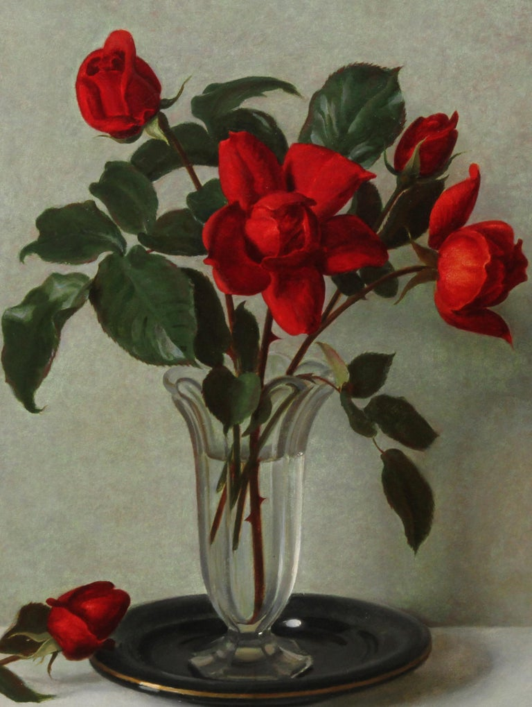 Red Roses in a Glass Vase - Scottish 1950's art floral still life oil painting - Realist Painting by John Bulloch Souter