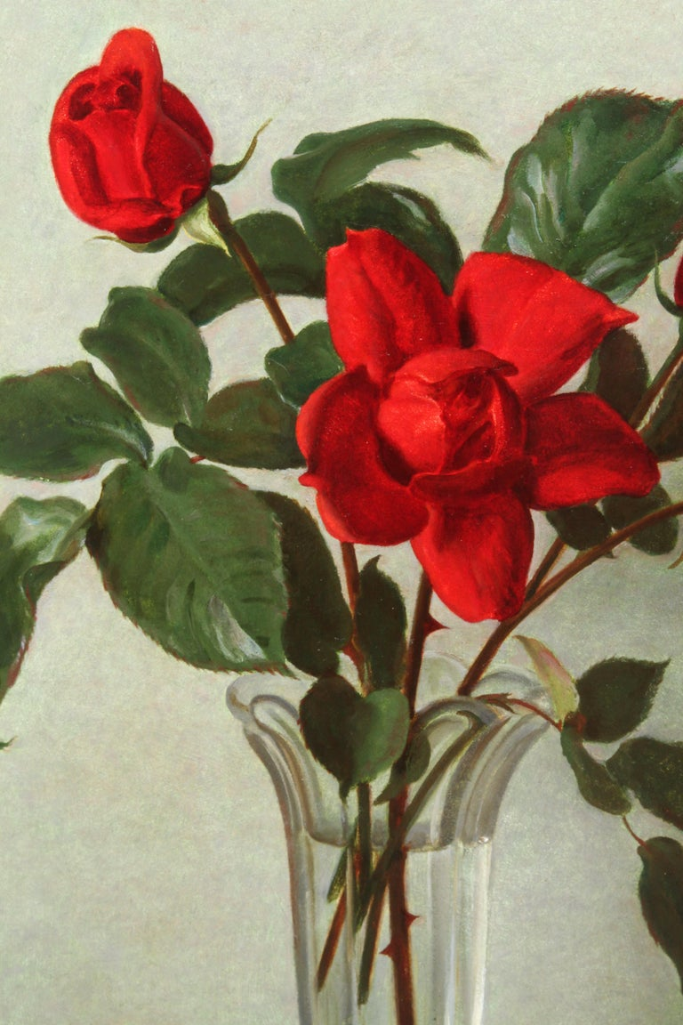 Red Roses in a Glass Vase - Scottish 1950's art floral still life oil painting - Brown Still-Life Painting by John Bulloch Souter