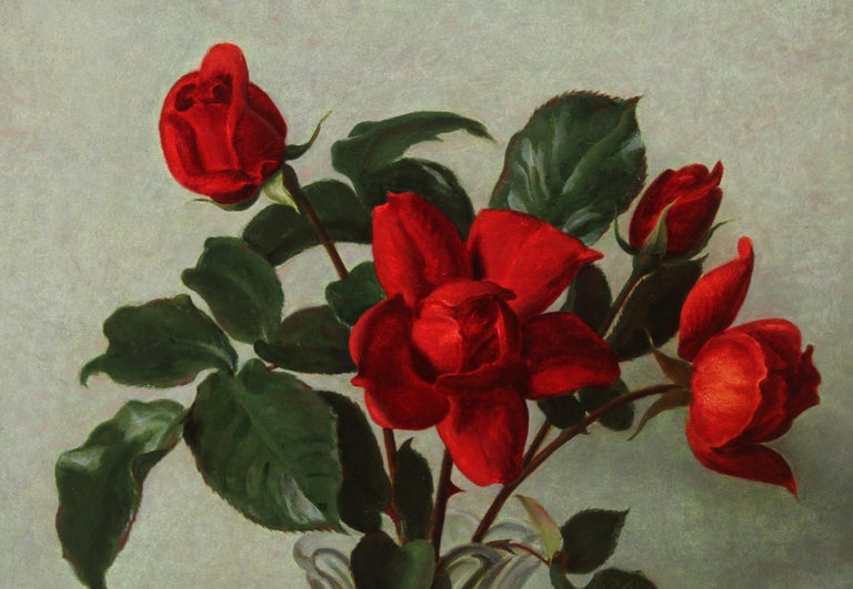 This gorgeous oil painting is by noted Scottish artist John Bulloch Souter and we have several paintings by him in our collection and they have proved very popular. This is a vibrant 1950's floral still life oil painting of crimson red roses in a