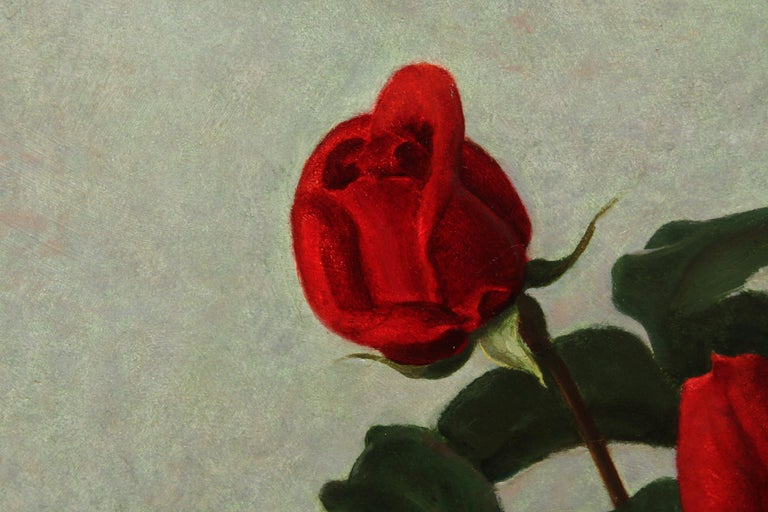 Red Roses in a Glass Vase - Scottish 1950's art floral still life oil painting For Sale 1