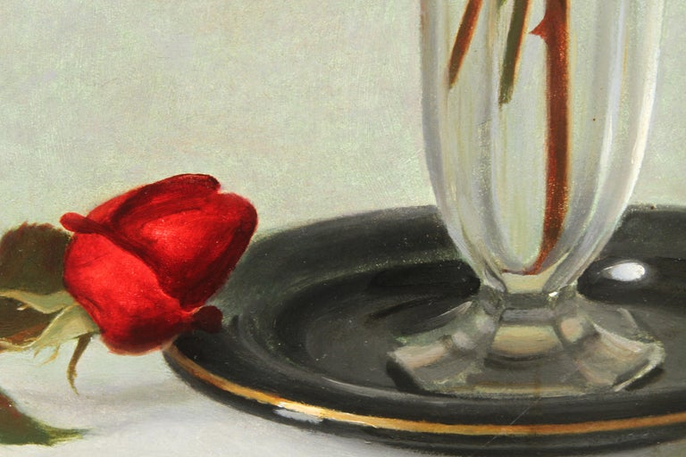 Red Roses in a Glass Vase - Scottish 1950's art floral still life oil painting For Sale 3