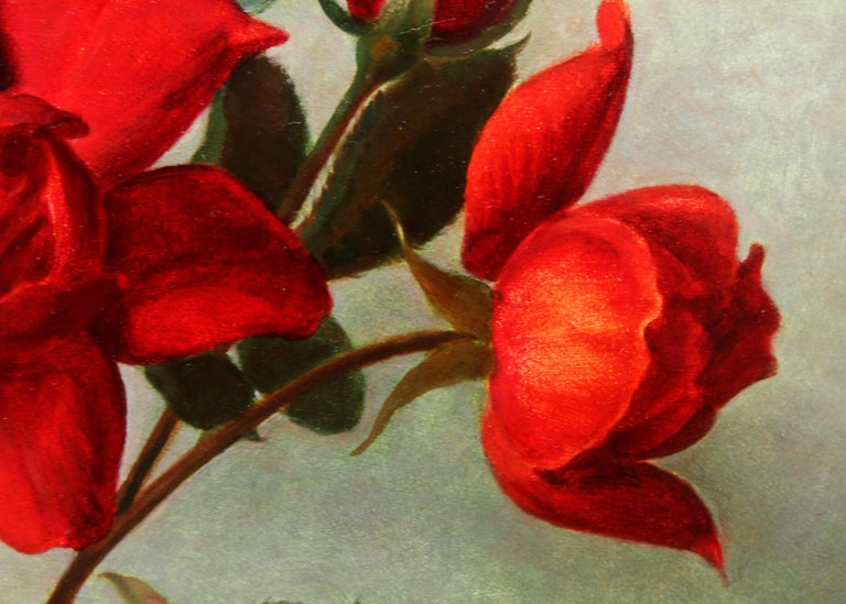 Red Roses in a Glass Vase - Scottish 1950's art floral still life oil painting For Sale 4