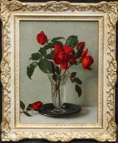 Red Roses in a Glass Vase - Scottish 1950's art floral still life oil painting