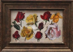 Roses Red and Yellow - Scottish floral still life study 1930's oil painting art