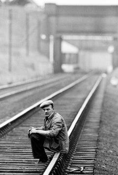 Man Sitting on Railway. The Potteries, 1960