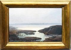 Antique American Hudson River School Coastal Luminous Seascape Oil Painting