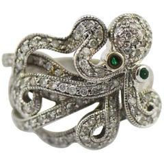 John C. Rinker Octopus Ring 1 Carat Diamonds with Emerald Eyes