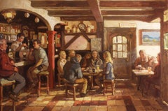 'Afternoon Pint', large transitional contemporary bar-scene painting