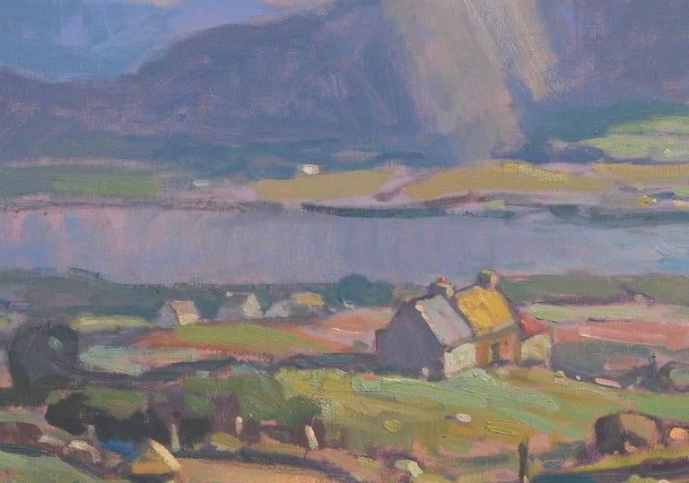 'County Kerry, Ireland', large transitional contemporary landscape painting - American Impressionist Painting by John C. Traynor
