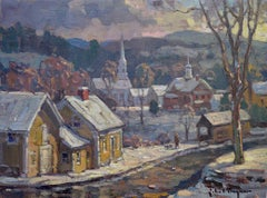 'Early Morning, Stowe', small contemporary New England winter landscape painting
