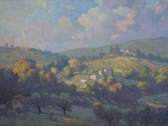 'Grassy Hills of Tuscany', large transitional contemporary landscape painting