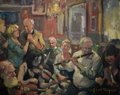 'Session at Friels', Contemporary Impressionist Bar Scene Oil Painting