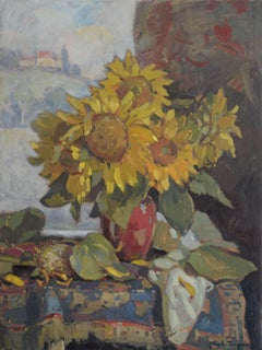 'Sunflowers in Red Porcelain', Contemporary Impressionist Still Life Painting