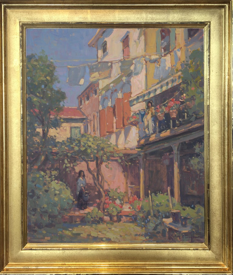 'Venetian Courtyard, Giudecca', transitional contemporary landscape painting - Painting by John C. Traynor