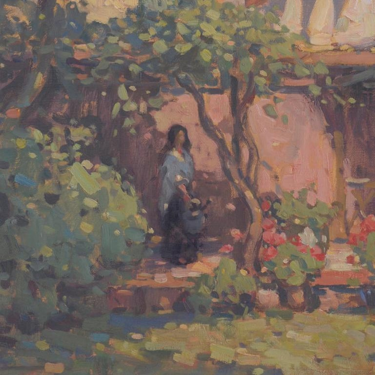 'Venetian Courtyard, Giudecca', transitional contemporary landscape painting - American Impressionist Painting by John C. Traynor