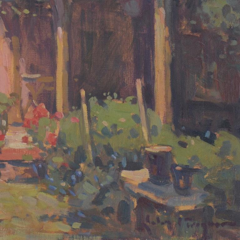 'Venetian Courtyard, Giudecca', transitional contemporary landscape painting - Gray Landscape Painting by John C. Traynor
