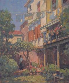 'Venetian Courtyard, Giudecca', transitional contemporary landscape painting