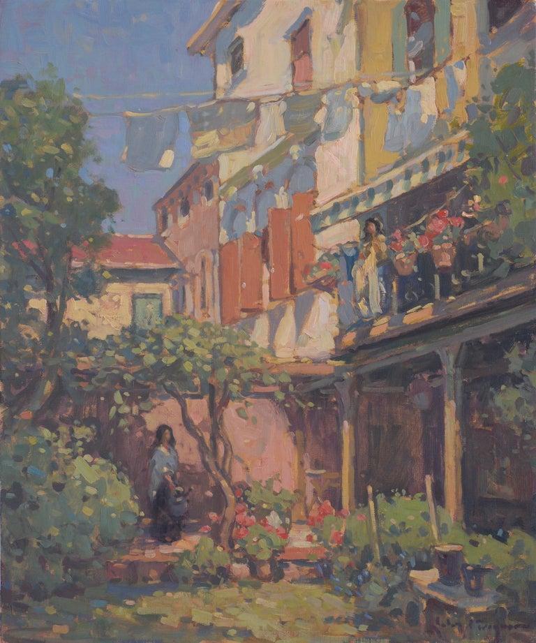 John C. Traynor Landscape Painting - 'Venetian Courtyard, Giudecca', transitional contemporary landscape painting