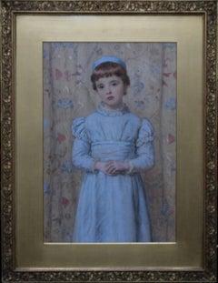 Penel Hichens - Victorian art Pre-Raphaelite female oil portrait blue dress