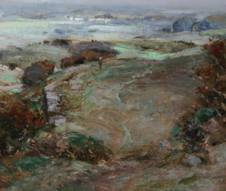 Scottish Galloway Landscape - British Victorian art Impressionist oil painting  - Black Landscape Painting by John Campbell Mitchell