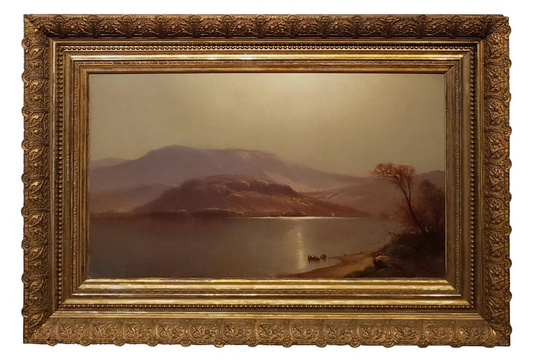 "Bright luminist landscape signed by Carleton Wiggins, American 1848-1932.  14"" x 24"" Oil on canvas signed and with partially abraded signature.  In the frame the landscape painting measures 22 inches tall by 32 inches wide.  John Carleton Wiggins"