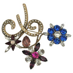 John Catalano larg three flower brooch vintage Statement 1990s, gold plated