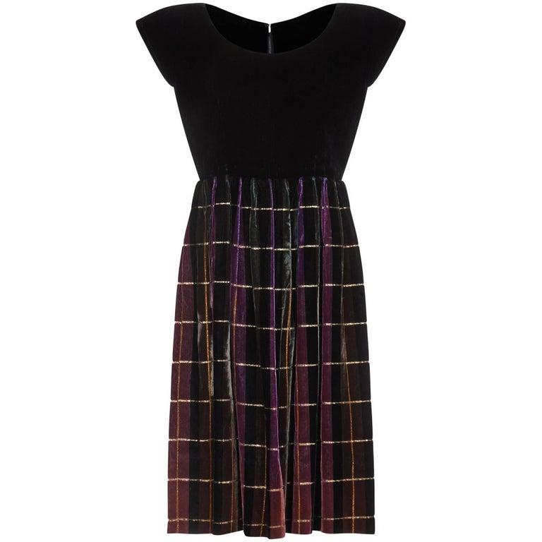 f1cb5bca6e2 John Cavanagh 1960s Velvet Tartan Party Dress For Sale at 1stdibs