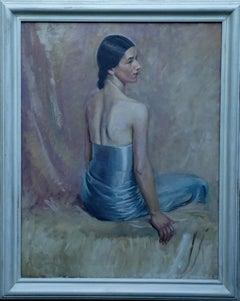 Portrait of Elizabeth Allison - British Slade Sch Art Deco portrait oil painting
