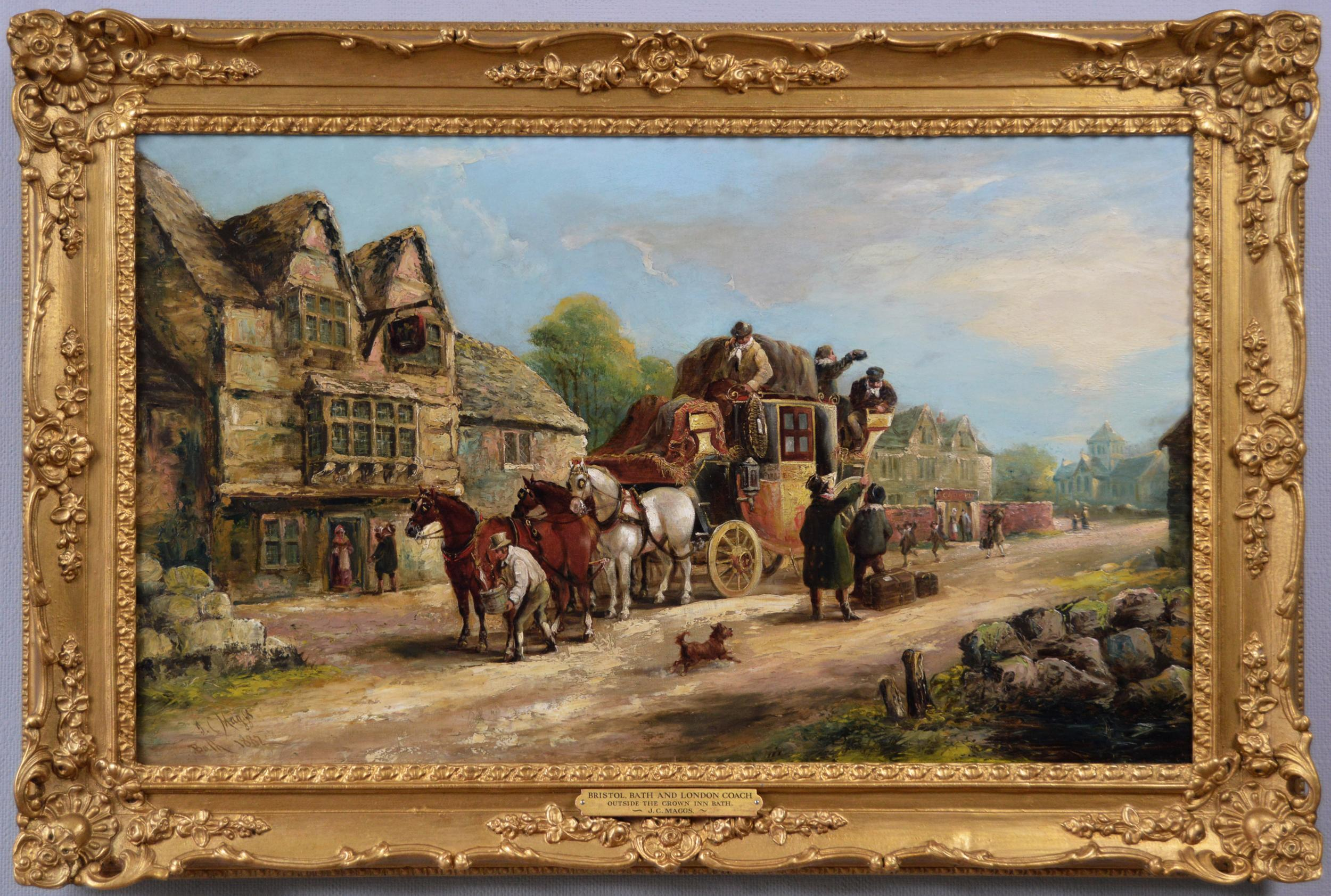 19th Century coaching oil painting