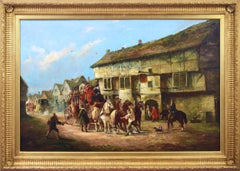 19th Century oil painting coaching scene of The Bath Coach