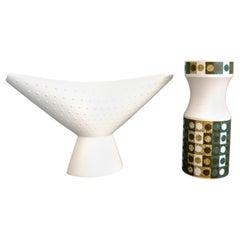 John Clappison Slipware Anvil Vase with Studiocraft Vase for Hornsea, 1966