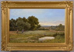 19th Century landscape oil painting of hay making