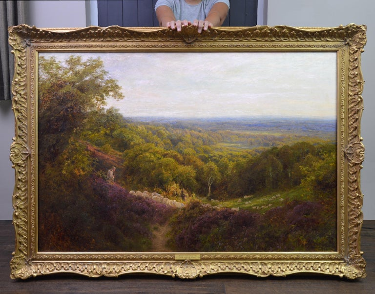 Summer in the Surrey Hills - Very Large 19th Century Landscape Oil Painting - Brown Animal Painting by John Clayton Adams