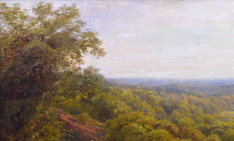 Summer in the Surrey Hills - Very Large 19th Century Landscape Oil Painting For Sale 1