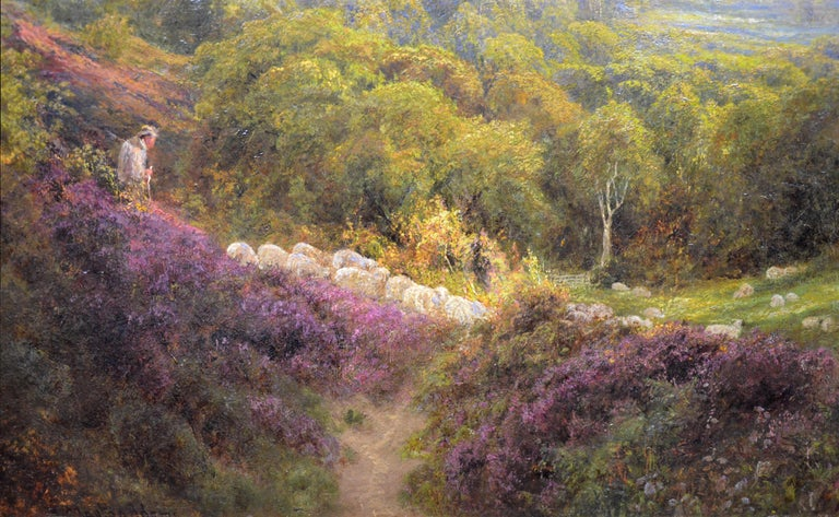 Summer in the Surrey Hills - Very Large 19th Century Landscape Oil Painting For Sale 5