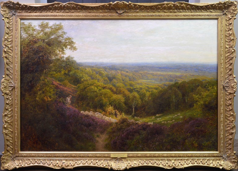 John Clayton Adams Animal Painting - Summer in the Surrey Hills - Very Large 19th Century Landscape Oil Painting
