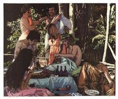 """John Clem Clarke-Bacchanal-22"""" x 26""""-Lithograph-1972-Realism-Multicolor"""