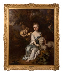 English 17th century portrait of a young girl in a landscape with a lamb